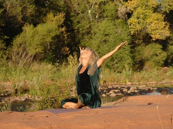 Iala doing yoga on sedona spa retreat