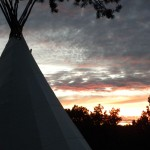 Tipi at sunset on the sedona vortex retreat