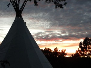 Sedona Healing Retreats session with a Tipi in the sunset