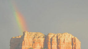 Rainbow over Courthouse Butte