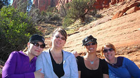 Girlfriends enjoying their Sedona Vortex Retreat at the base of Bell Rock